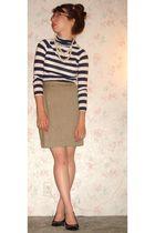blue Old Navy shirt - beige liz claiborne skirt - black Steve Madden shoes - whi