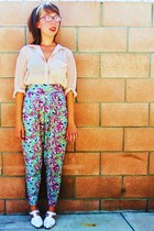 floral harem vintage pants - sheer H&M blouse - white vintage sandals