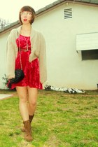 light brown boots - red crushed velvet thrifted dress - tan thrifted sweater - b
