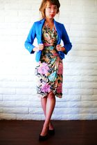 pink thrifted dress - blue Charlotte Russe blazer - silver