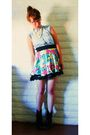 Red-thrifted-skirt-black-grandmas-boots-white-accessories-blue-target-dres