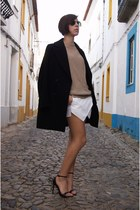 white sandals Ebay shorts - skorts Zara coat - black coat coat