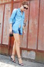 blue denim shirt pull&bear shirt - black shoulder bag Parfois bag