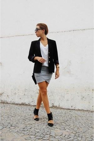 black Bershka boots - black vintage blazer - black Parfois bag
