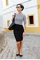 black Mango bag - black Parfois sunglasses - black pull&bear skirt