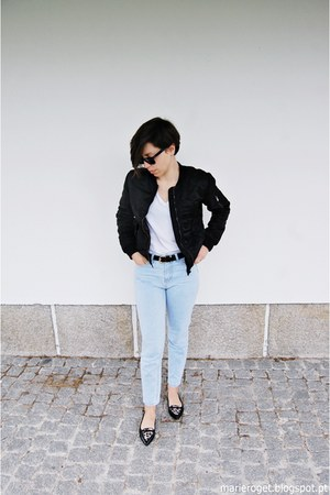black Bershka jacket - light blue Stradivarius jeans - black Ray Ban sunglasses