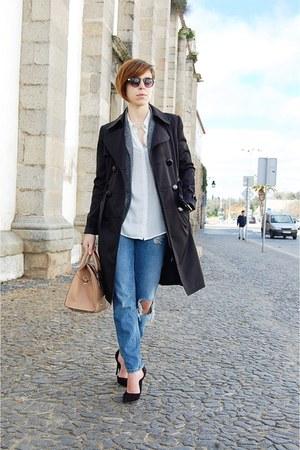 black c&a coat - sky blue pull&bear jeans - ivory Mango shirt - tan Mango bag