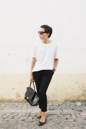 black For Me bag - dark brown Mango sunglasses - white Zara t-shirt