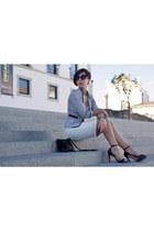 white blazer pull&bear skirt - navy ankle strap Ebay blazer