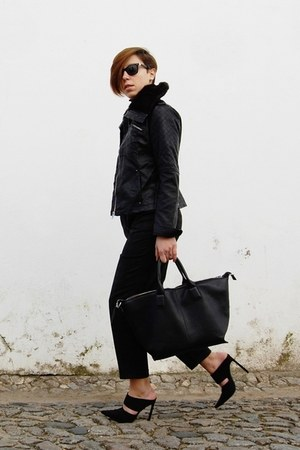 black Stradivarius jacket - black Mango sweater - black Parfois bag