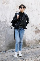 black Mango jacket - blue pull&bear jeans - black wholesale bag - black Zara top