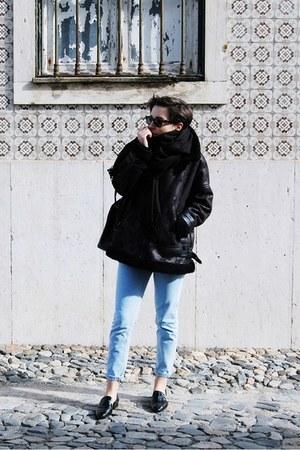 black Mango coat - sky blue Stradivarius jeans - black Mango scarf