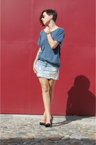 teal heels pull&bear t-shirt - denim shirt sunglasses