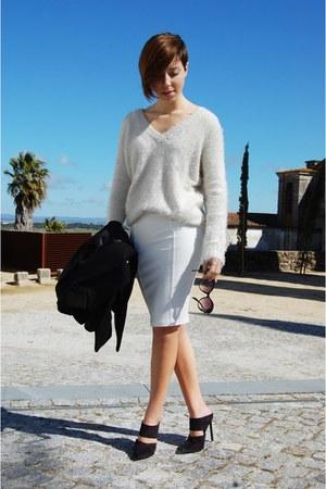 white pull&bear skirt - black Zara coat - black Ebay sunglasses