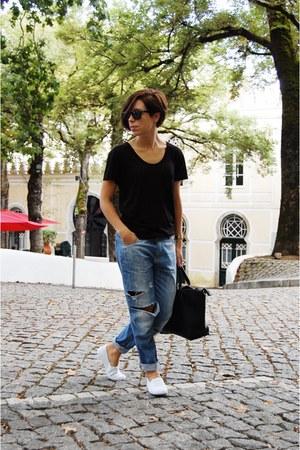 black Parfois bag - blue pull&bear jeans - white Primark flats