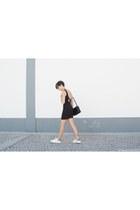 black pull&bear dress - black Mango bag - off white Adidas sneakers