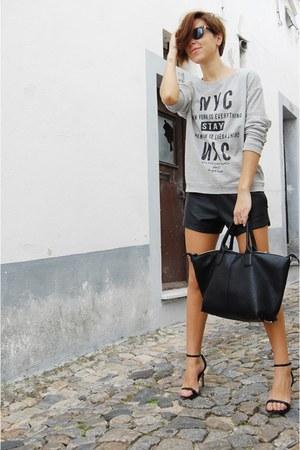 black Parfois bag - black Ebay shorts - black Zara sandals