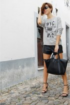 black Parfois bag - black Ebay shorts - black Zara sandals