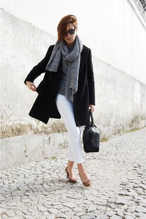 black Zara coat - charcoal gray H&M shirt - heather gray Bershka scarf