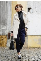 black Stradivarius jacket - off white Bershka coat - black Parfois bag