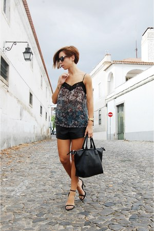 black Parfois bag - black ankle strap Ebay shorts - lingerie sunglasses