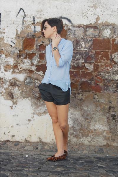 sky blue leopard print pull&bear shirt - black shirt Ebay shorts