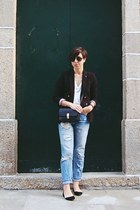 black Mango blazer - blue pull&bear jeans - black Ebay bag