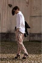 light pink leather jacket Zara pants - black sunglasses Stradivarius jacket