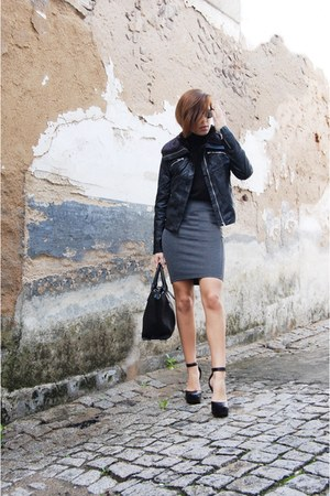 black Stradivarius jacket - black Parfois bag - gray Stradivarius skirt