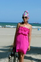 hot pink Mango dress - aquamarine scarf - black zebra pattern Terranova bag