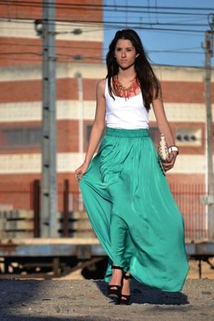 turquoise blue Mango skirt - cream Zara bag - white Zara t-shirt