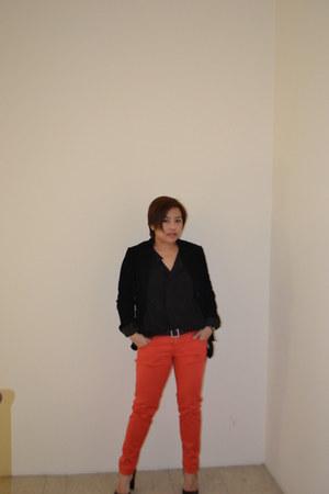 coral Zara pants - black H&M blazer - black Zara blouse - black Mango heels