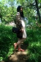 knitwear Zara cardigan - DIY dress - Chanel bag - H&M sandals - unknown glasses