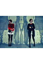 black JC shoes - black Vila coat - red thrift sweater - black vintage bag
