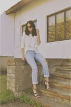 white Jacqueline de Young blazer - light blue DIY jeans - brown Ebay sunglasses