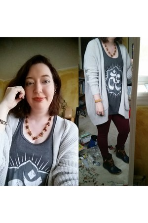 blue modcloth boots - gray Urban Outfitters cardigan
