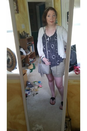 navy multi Lucky Brand shirt - gray Fossil purse - kahki ann taylor shorts