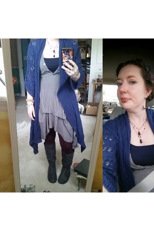 gray modcloth dress - blue Coldwater Creek cardigan