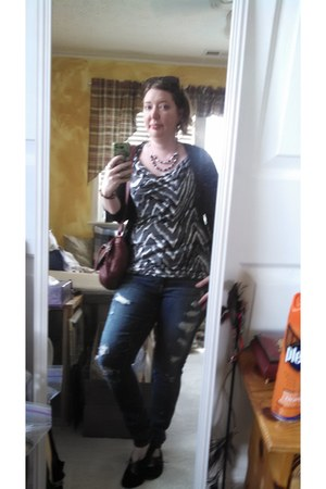 ann taylor shirt - black and tan free people shoes - American Eagle jeans