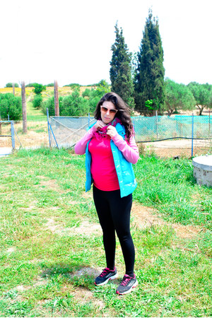 pink Zara jacket - black H&M leggings - bubble gum Accessorize sunglasses