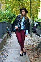 burgundy H&M pants - leather jacket GINA TRICOT jacket