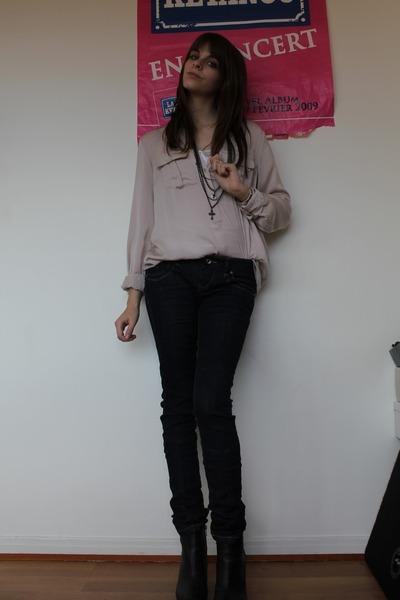 3cc886cc0c64a pink Zara blouse - gray cheap jeans - black H M boots - black Claires  necklace