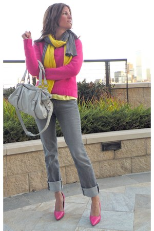 hot pink hot pink Guess sweater - silver Hudson jeans - yellow JCrew scarf
