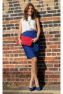 Red-pleated-clutch-poppie-jones-bag-white-polka-dots-j-crew-blouse