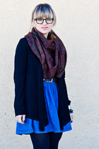 black Calzedonia tights - blue H&M skirt - brown Etro scarf - gray Zara belt - b
