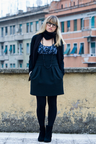 black H&M boots - black Calzedonia tights - black Zara skirt - blue Zara shirt -