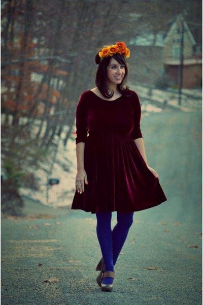 crimson velvet vintage dress - heather gray mary janes Dolce Vita shoes