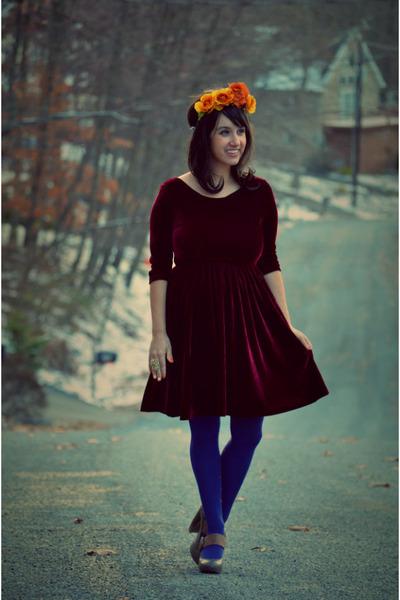 crimson velvet vintage dress - heather gray mary janes Dolce Vita shoes