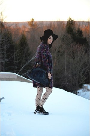 black velvet vintage boots - purple babydoll vintage dress - black floppy UO hat