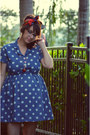Blue-polka-dot-oasap-dress-white-vintage-shoes